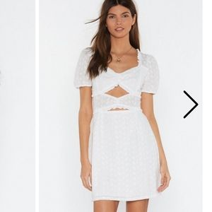 All on Broderie Cut out Mini Dress Nasty Gal